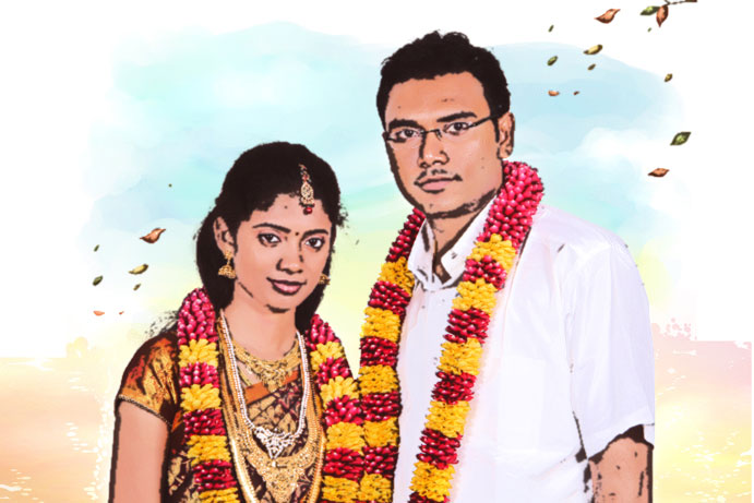 wedding couple as a drawing